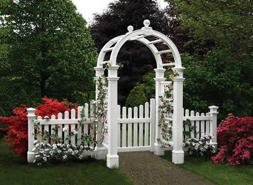white vinyl gates  Accent your Elegance Vinyl Arbor with
