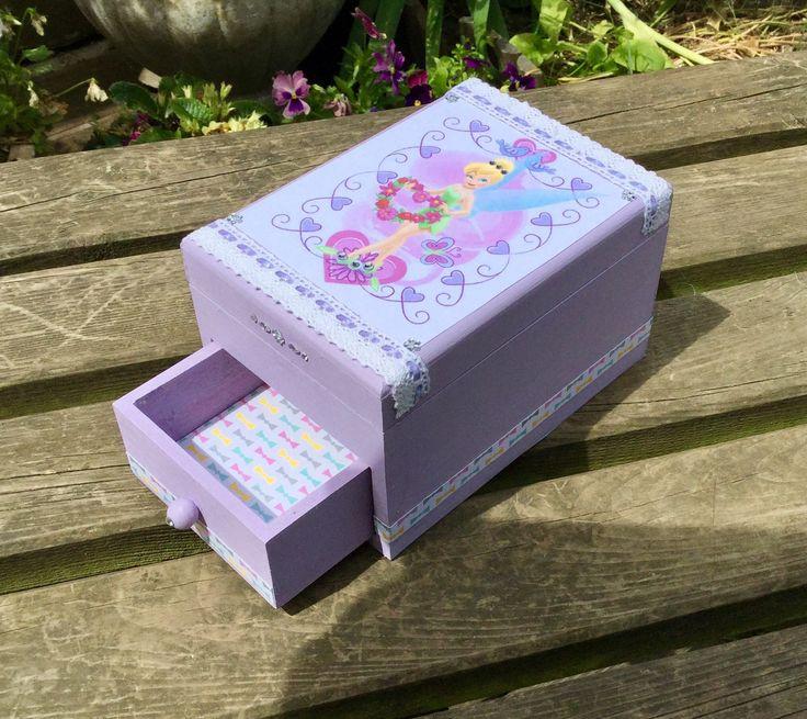 Boîte à bijoux mauve décor Clochette : Boîtes, coffrets par arc-en-ciel-creatif