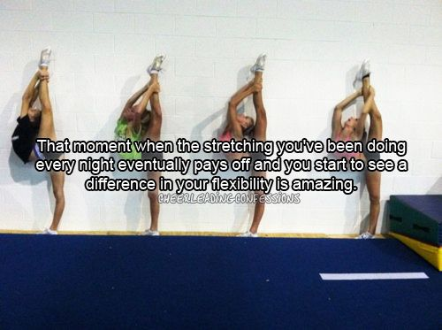 Cheerleading --- when stretching pays off. Almost. I almost have my NEEDLE