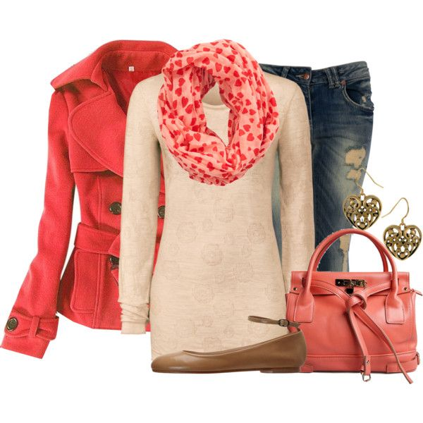 coral coat, jeans, a scarf, and flats