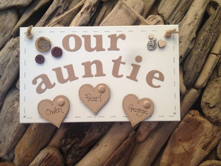 Aunt Aunty Auntie Personalised Plaque Sign with Hearts Gift Present Handmade