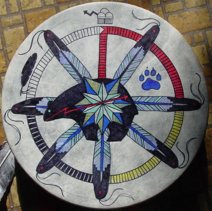 BEAR HEALING DRUM - made for a US Army soldier who counseled troops and their families. Adorned with the Cherokee Star, Zuni style Medicine Bear Fetish, Ceremonial Eagle Feathers, Medicine Wheel, Wolf Print, Thundercloud and Peace Eagle (Vulture) Feather.