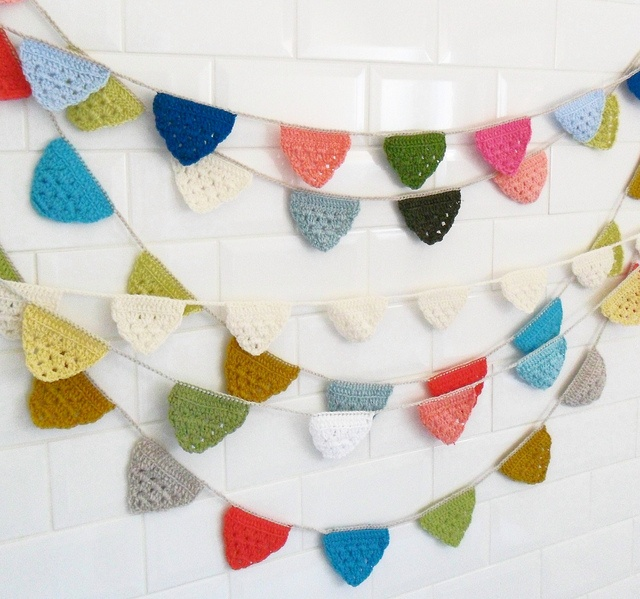 Crochet bunting! Would look great across front of craft show table!