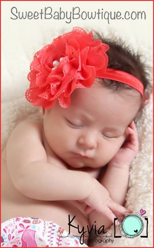 OMG the MOST ADORABLE baby headbands and newborn headbands! www.sweetbabybowtique.com!  The Olivia Red Elastic Headband
