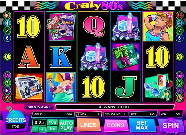 Crazy 80s is a 5-reel, 9 payline video slot which contains both a Wild and Scatter symbol