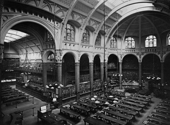 The vaulted and skylit reading room of the Birmingham Central Library. It was built by architect Edward Middleton Barry in 1857, rebuilt after a fire by J. H. Chamberlain in the 1880s, and demolished in 1974.