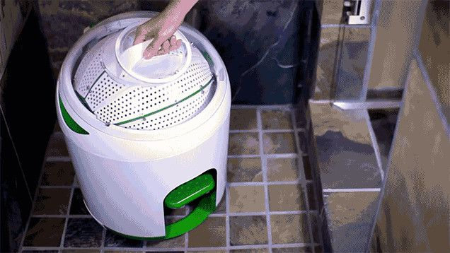 LAUNDRY ~ The Drumi from Yirego is a compact portable washing machine that can clean around six or seven garments without the need for a power outlet, a generator, or even a sunny day to feed a solar panel.  $129 #FlatsChallenge
