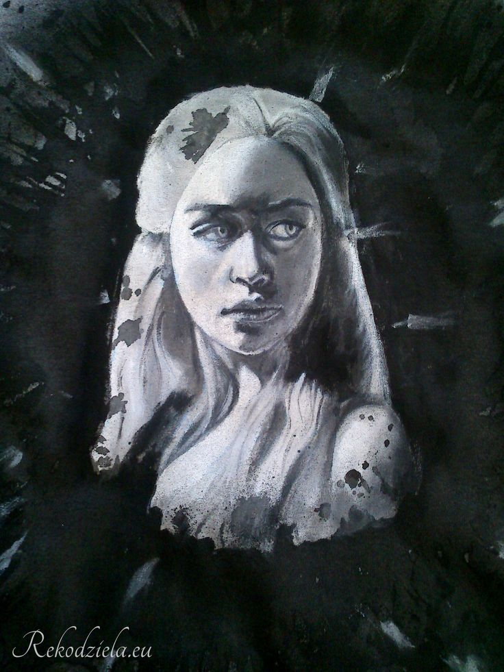 Daenerys Targaryen - Matka Smoków Ręcznie malowany obraz na damskiej koszulce.