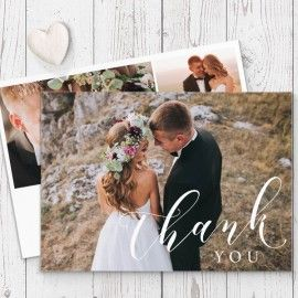 Calligraphy wedding photo thank you cards printed on luxury cardstock, double sided, by Peach Perfect Australia