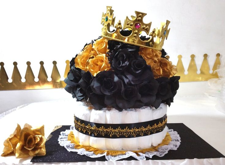 BLACK U0026 GOLD Diaper Cake Crown Centerpiece For Prince Baby Shower / Boys  Black And Gold Baby Shower Theme And Decorations #babyshowerideas4u  #birthdayparty ...