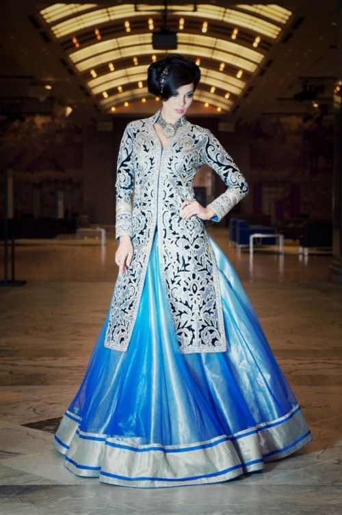 "Garara: ""We love the gorgeous and soothing blues of this ravishing jacket with lehenga bottom by CTC West""."