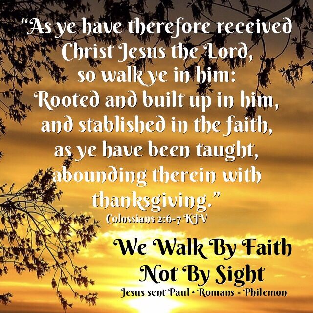 """""""As ye have therefore received Christ Jesus the Lord, so walk ye in him: Rooted and built up in him, and stablished in the faith, as ye have been taught, abounding therein with thanksgiving.""""  Colossians 2:6-7 KJV ✞Grace and peace in Christ!"""