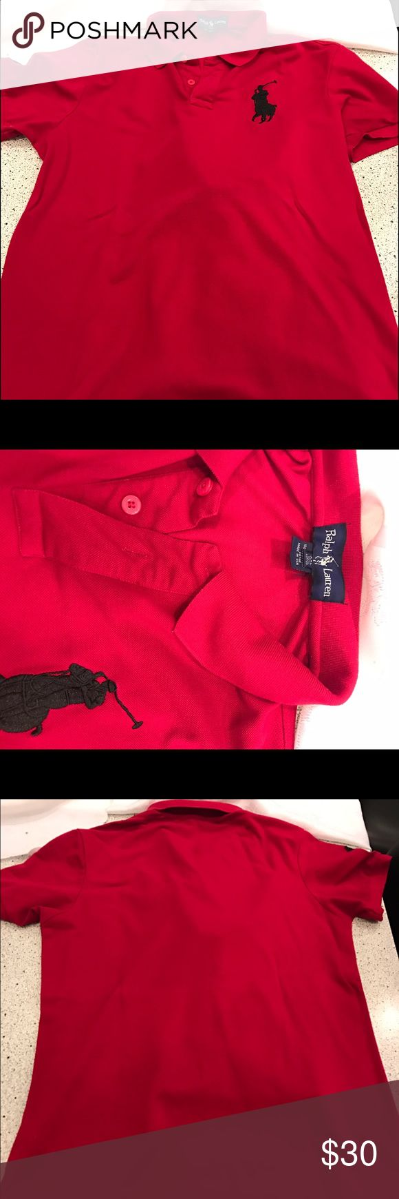 Men's polo by Ralph Lauren shirt Men's polo by Ralph Lauren red shirt with black big pony size XXL Polo by Ralph Lauren Shirts Polos