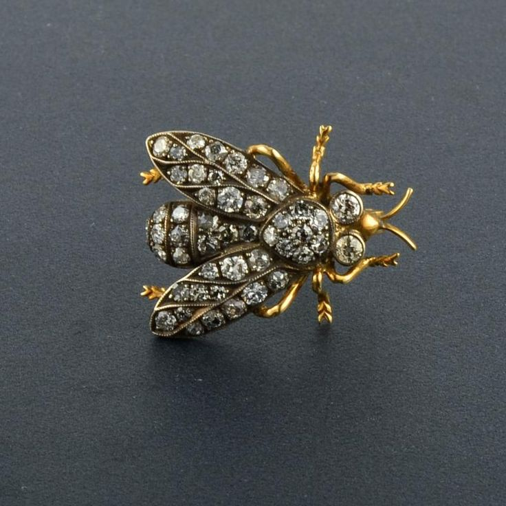Antique 14K YG Diamond Bug Pin Victorian