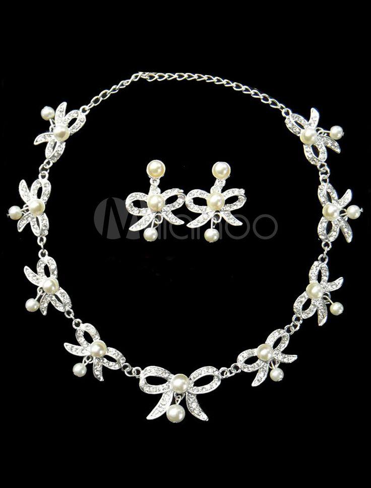 #Milanoo.com Ltd          #Wedding Jewelry Sets     #Sweet #Silver #Pearl #Rhinestone #Bridal #Jewelry  Sweet Silver Bow Pearl Rhinestone Bridal Jewelry Set                                                    http://www.seapai.com/product.aspx?PID=5692401