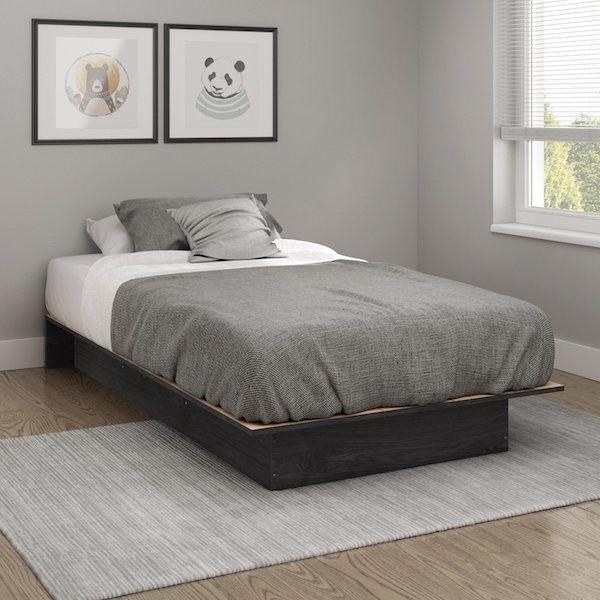 Ensemble de lits jumeaux avec cadre en bois Chambre d'étudiant Chambre à coucher moderne …