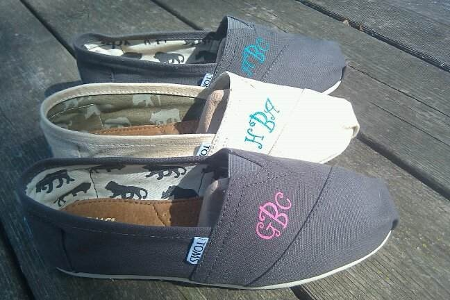 To do list: Heat press my monogram on a pair of Tom's