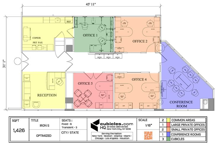 Office Furniture Floor Plan for a small office.