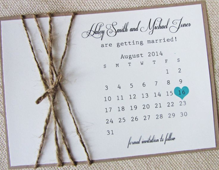 Rustic Burlap Twine Save the Date Card Calendar by LoveofCreating, $3.00