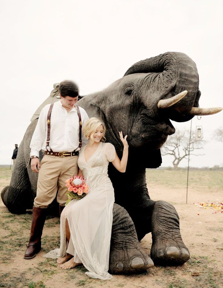 Nolen and Janna traveled to South Africa for their intimate wedding. The ceremony was held at Camp Jabulani, and Janna's aisle was anything but ordinary — it was a line of 12 elephants. The couple, dressed in ensembles inspired by the 1920s, tied the knot with the sounds of lions roaring in the background.