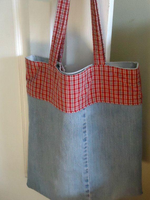 Denim saco com vermelho da manta, Biblioteca Livro Tote, saco de compras reusável, Upcycled
