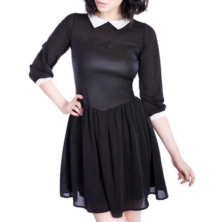 Aurora korte jurk met witte kraag zwart – Gothic Metal