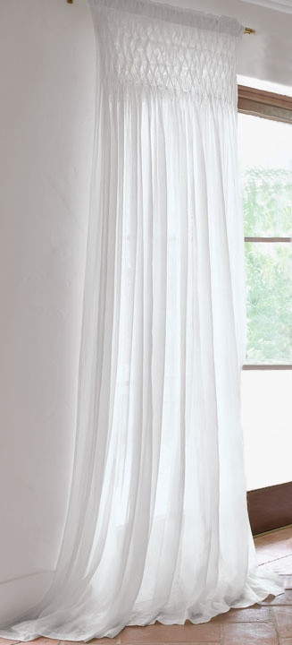 Chandler Collection White Sheer Smocked Drapery Panel