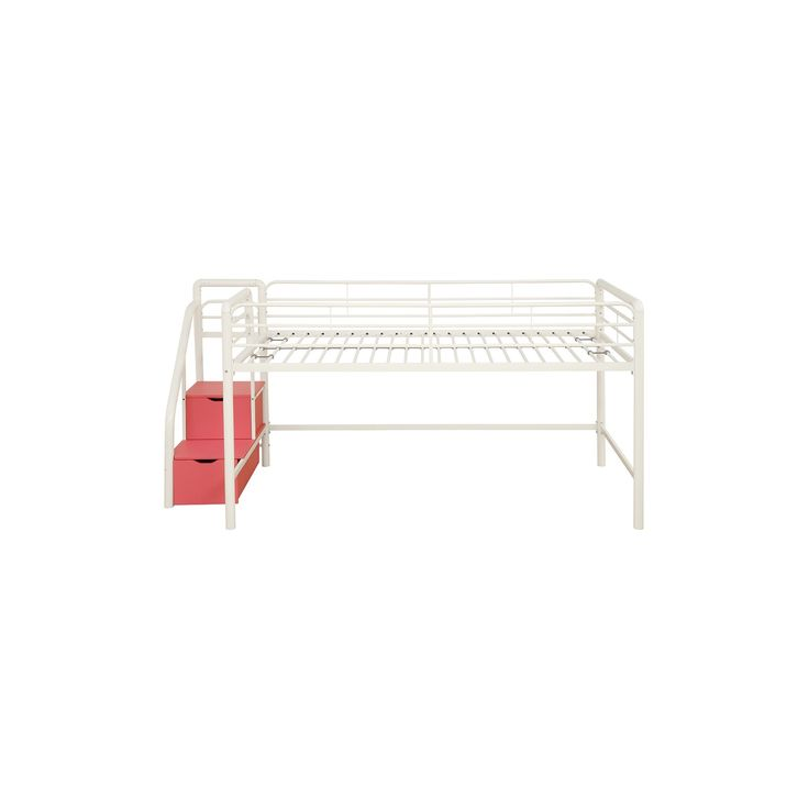 Junior Loft Bed With Storage Steps - Twin - White/Pink - Dorel Home Products