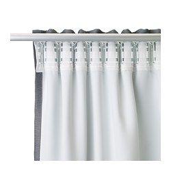 IKEA - MARJUN, Mörkläggningsgardiner, 1 par, , Gardinerna hindrar det mesta av ljuset och skapar avskildhet genom att blockera insyn.Effektiva mot drag på vintern och värme på sommaren.Gardinerna kan hängas på en gardinstång eller en gardinskena.Rynkbandet gör att du enkelt kan skapa veck om du kompletterar med gardinkrokarna RIKTIG.Du kan antingen hänga gardinen direkt på en gardinstång genom de gömda hällorna, eller använda ringar och krokar.