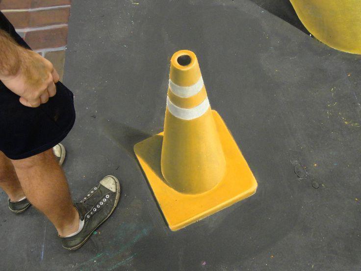 3D chalk art road cone. – a  öh – #Art #Chalk #Cone #öh #road   – chalk art