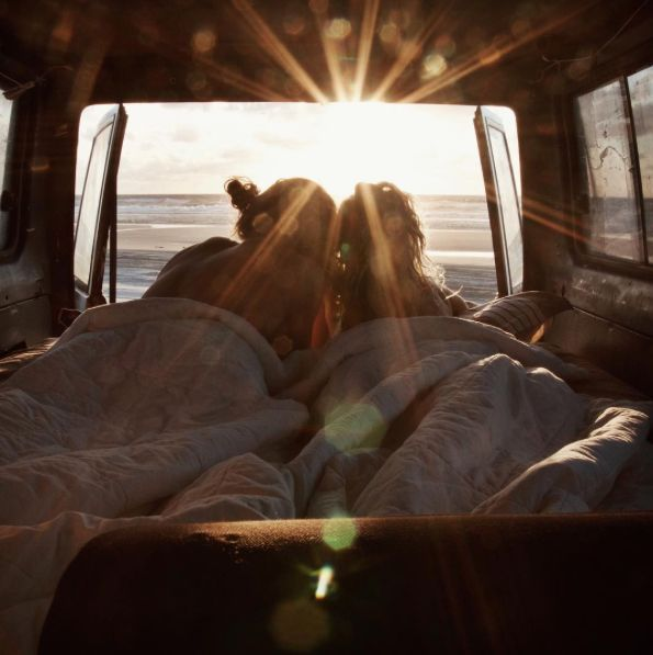 Late night talks turning into sunrise cuddles.