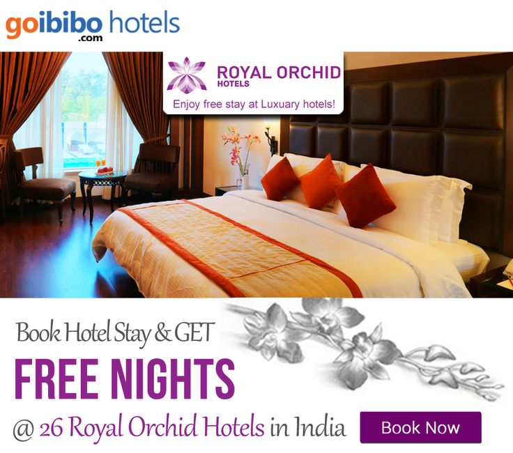 Book 1 Night and Get 1 Free Night on all 26 Royal Orchid hotels across India. Book Here: http://www.goibibo.com/royal_orchid/ Mussoorie, Mysore, Shimoga, Bangalore, Chandigarh, Goa, Gurgaon, Hyderabad, Jaipur, Mahabaleshwar, Navi Mumbai, Pune, Vadodara, Ahmedabad, Bharuch, Bhuj, Hospet.