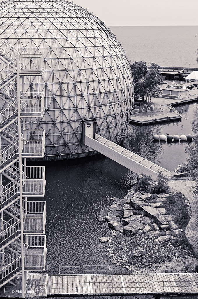 Staircases and plankwalks of Cinesphere a triodetic-domed movie theater sphere designed by Eberhard Zeidler 1971