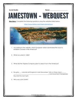 Jamestown Colony - Webquest with Key - This 6 page document contains a webquest…