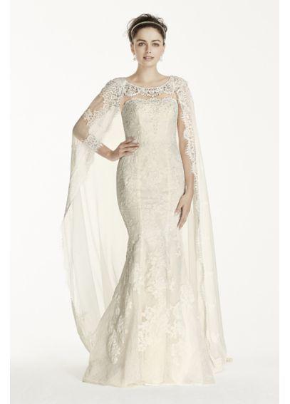 Oleg Cassini Scalloped Chiffon Cape Wedding Dress CWG717