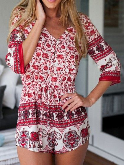 Romper Red Floral Elephant Print Beach Summer Outfit – Lyfie