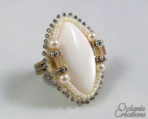 Кольцо вышитые ремесло жемчуг
