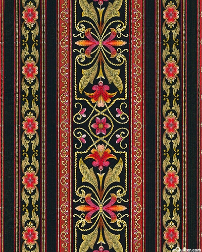 Floral Symmetry Stripe in Black from the 'Bordering on Brilliance II' collection by Jinny Beyer for RJR Fabrics