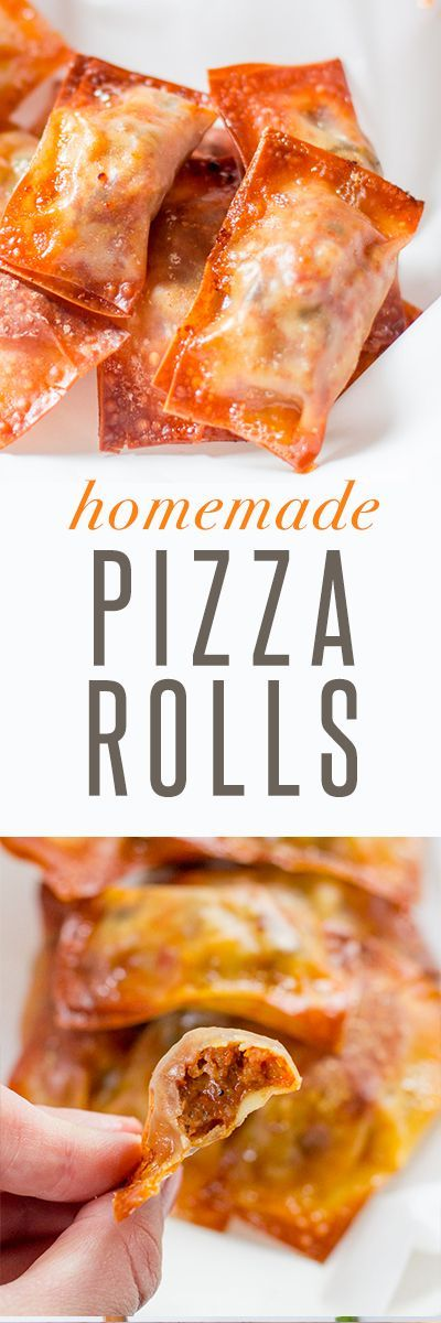 """Baked Homemade Pizza Rolls Recipe: If you ever find yourself in a Southern Indiana grocery store and see a young couple standing in the frozen novelties section shouting, """"I LOVE TOTINO'S PIZZA ROLLS"""" at one another, stop and introduce yourself because that would be me and my handsome husband. *waves* Hi, we're dorks. It all comes fr..."""