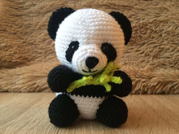 Crocheted Panda Bear - Amigurumi Stuffed Toy Handmade игрушка крючком, вязаная панда, медведь https://www.etsy.com/listing/569584597/crocheted-panda-bear-amigurumi-stuffed
