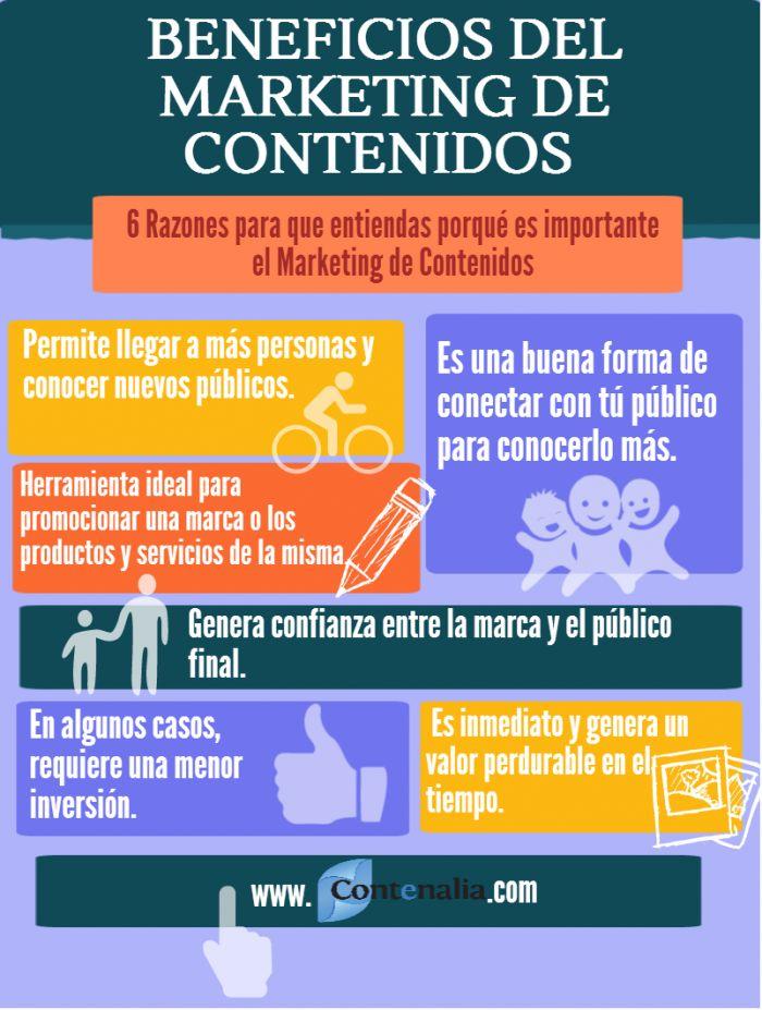 #Infografía: Beneficios del marketing de contenidos | Infografías en español | Pinterest | Marketing communications