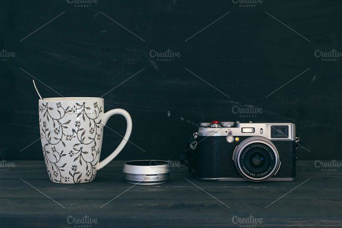 Camera with mug by Hombre-cz on @creativemarket