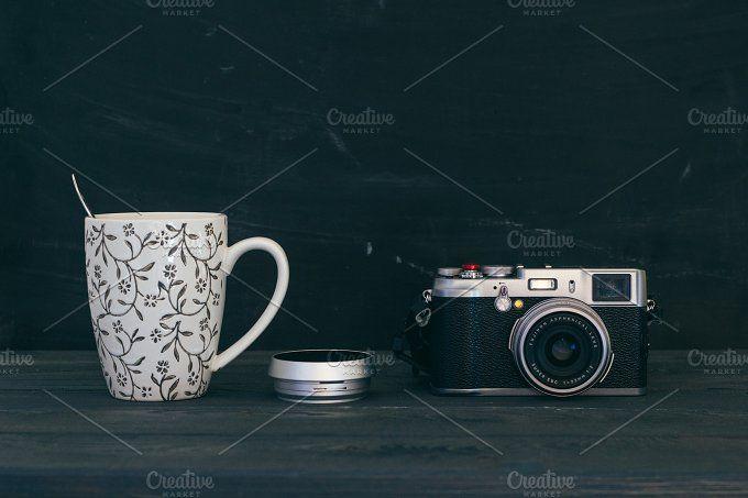 Camera with mug by Hombre-cz on @creativemarket