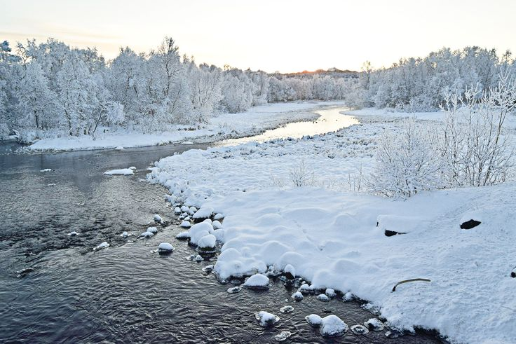 White winter landscape on a very cold day in Norway