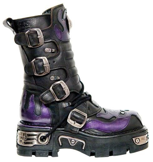OMG I so want these!    New Rock Boots - 107 S4 Purple Flame & Skull Reactor | New Rock | Alternative Boots | FOOTWEAR | Web Shop | £155.00 | New Rock Gothic Clothing - Rocky Horrors