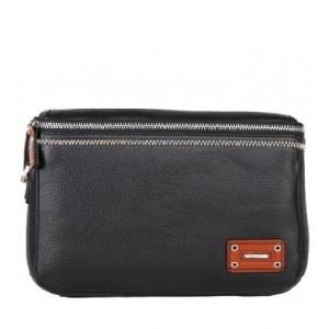 Fashion Handmade Black Leather Men Clutch Bag With Zipper - Men Bags - handbag shop