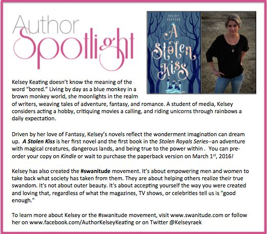This week's #AuthorSpotlight is #KelseyKeating. Learn more about her #swanitude movement http://ow.ly/Y6nLI