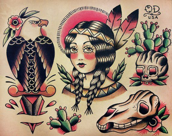 Native Indian Theme Traditional Tattoo Designs Etsy In 2021 American Traditional Tattoo Traditional Tattoo Design Traditional Tattoo