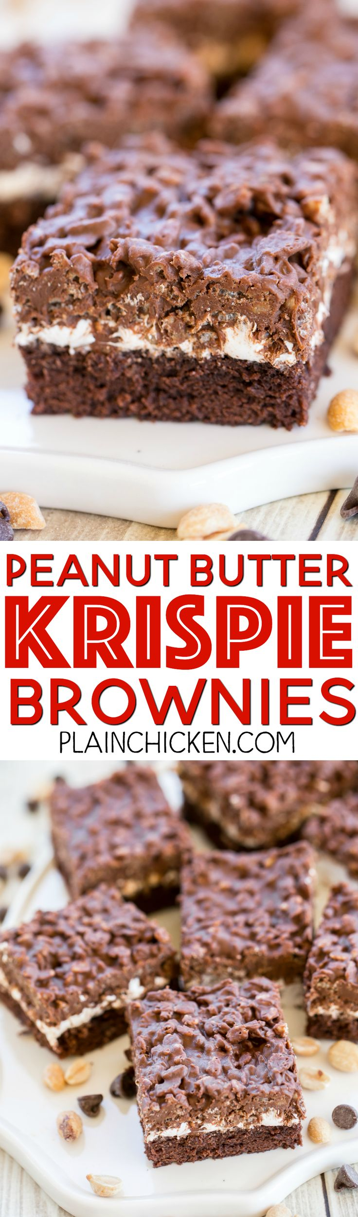 Peanut Butter Krispie Brownies - these brownies are TO-DIE-FOR! Boxed brownie mix topped with marshmallow creme and peanut butter, chocolate chips and rice krispies! These things are dangerous! Great for potlucks!! Seriously THE BEST! Such a great and easy dessert recipe.