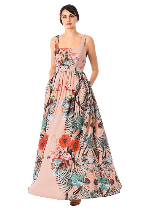 8c90a6052d34 Beaded flamingo floral print crepe belted dress-CL0057979